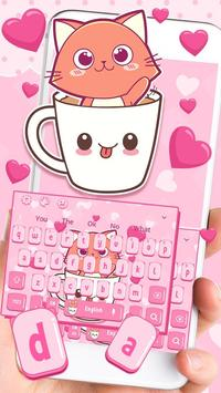 Pink Love Cup Cat Keyboard Theme poster