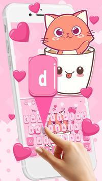 Pink Love Cup Cat Keyboard Theme screenshot 1