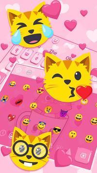 Pink Love Cup Cat Keyboard Theme screenshot 2