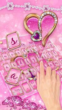 Sparkling Pink Love Heart Keyboard screenshot 1