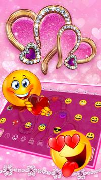 Sparkling Pink Love Heart Keyboard screenshot 2