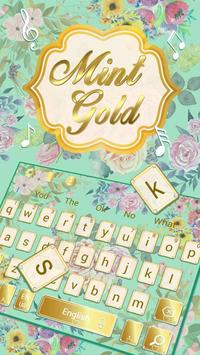 Mint And Gold Keyboard Theme poster