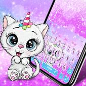 Cute Glitter Unicorn Cat Keyboard Theme icon