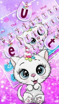 Cute Glitter Unicorn Cat Keyboard Theme poster