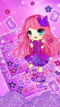 Cute Purple Glitter Girl Keyboard Theme poster