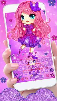 Cute Purple Glitter Girl Keyboard Theme screenshot 1