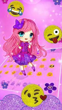Cute Purple Glitter Girl Keyboard Theme screenshot 2