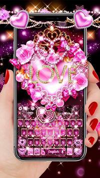 Teclado rosa do amor coração Cartaz