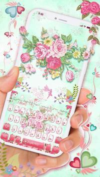 Pink Flower Keyboard poster