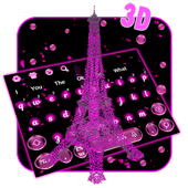 3D Pink Paris Eiffel Tower Keyboard Theme icon