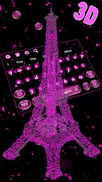 3D Pink Paris Eiffel Tower Keyboard Theme poster