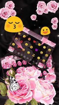 Pink Rose Butterfly Keyboard poster