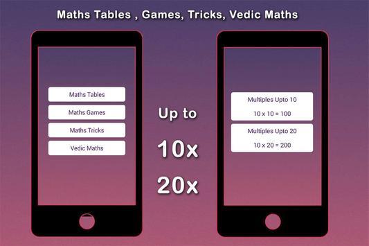 Maths Tables, Games, Maths Tricks, Vedic Maths screenshot 2