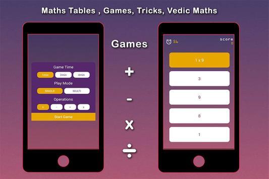 Maths Tables, Games, Maths Tricks, Vedic Maths screenshot 3