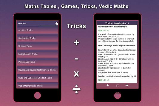 Maths Tables, Games, Maths Tricks, Vedic Maths screenshot 4