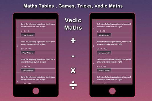 Maths Tables, Games, Maths Tricks, Vedic Maths screenshot 6