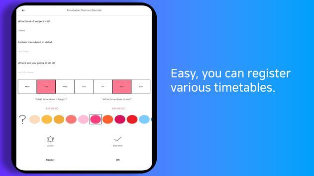 Planner Timetable with alarm for study - Damda スクリーンショット 14