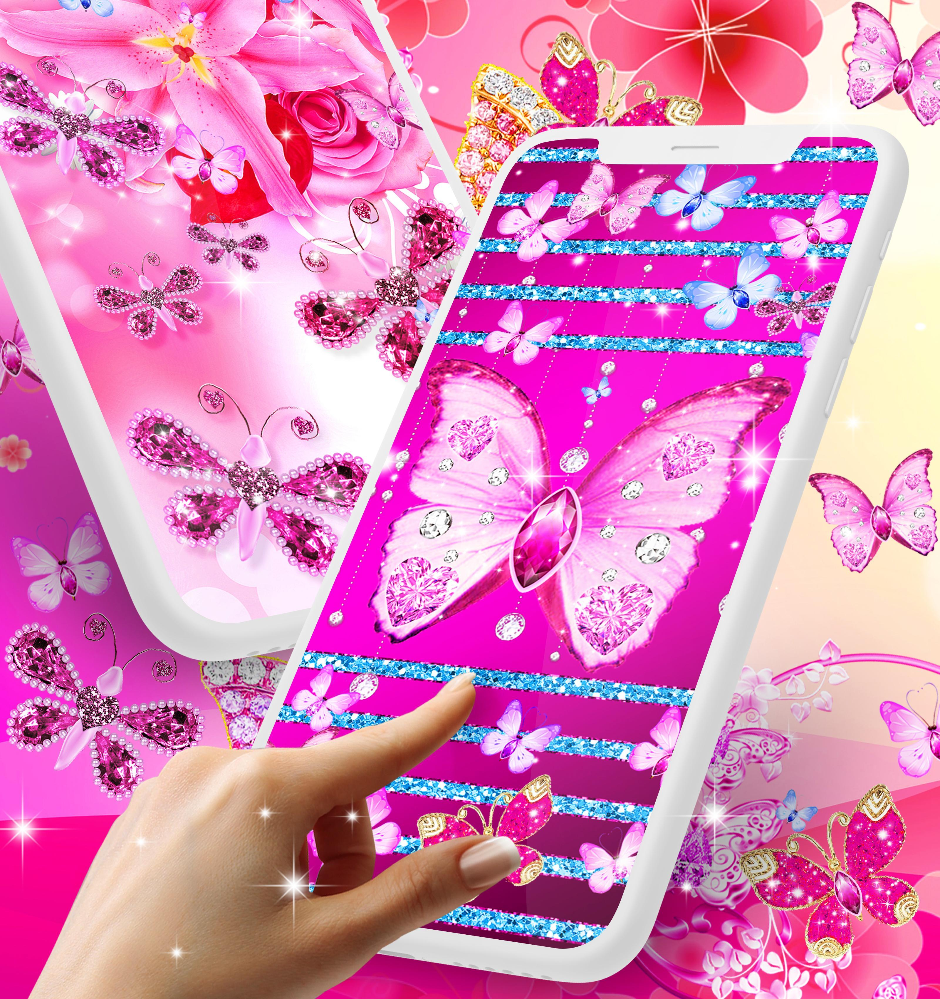 Diamond butterfly pink live wallpaper pour Android ...