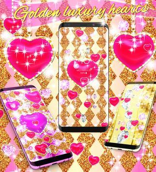 Golden luxury diamond hearts live wallpaper screenshot 1
