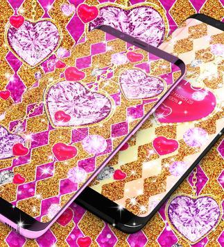 Golden luxury diamond hearts live wallpaper screenshot 5