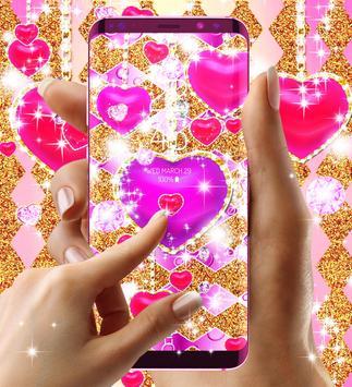 Golden luxury diamond hearts live wallpaper screenshot 6