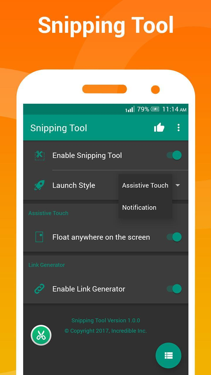 Snipping tool - Capture screenshot & share link for Android