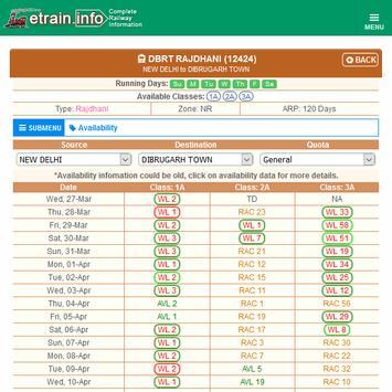 Indian Railways @etrain.info screenshot 20