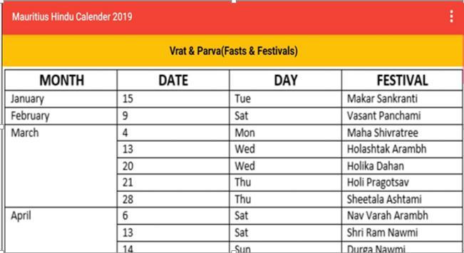 Mauritius Hindu Calendar 2019 for Android - APK Download