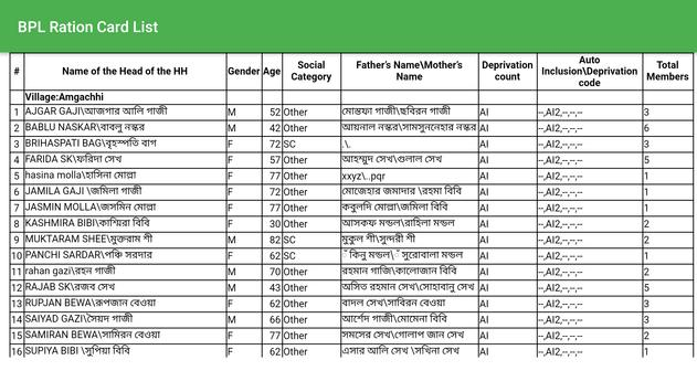 West Bengal BPL Ration Card List - নাম চেক করুন। screenshot 2