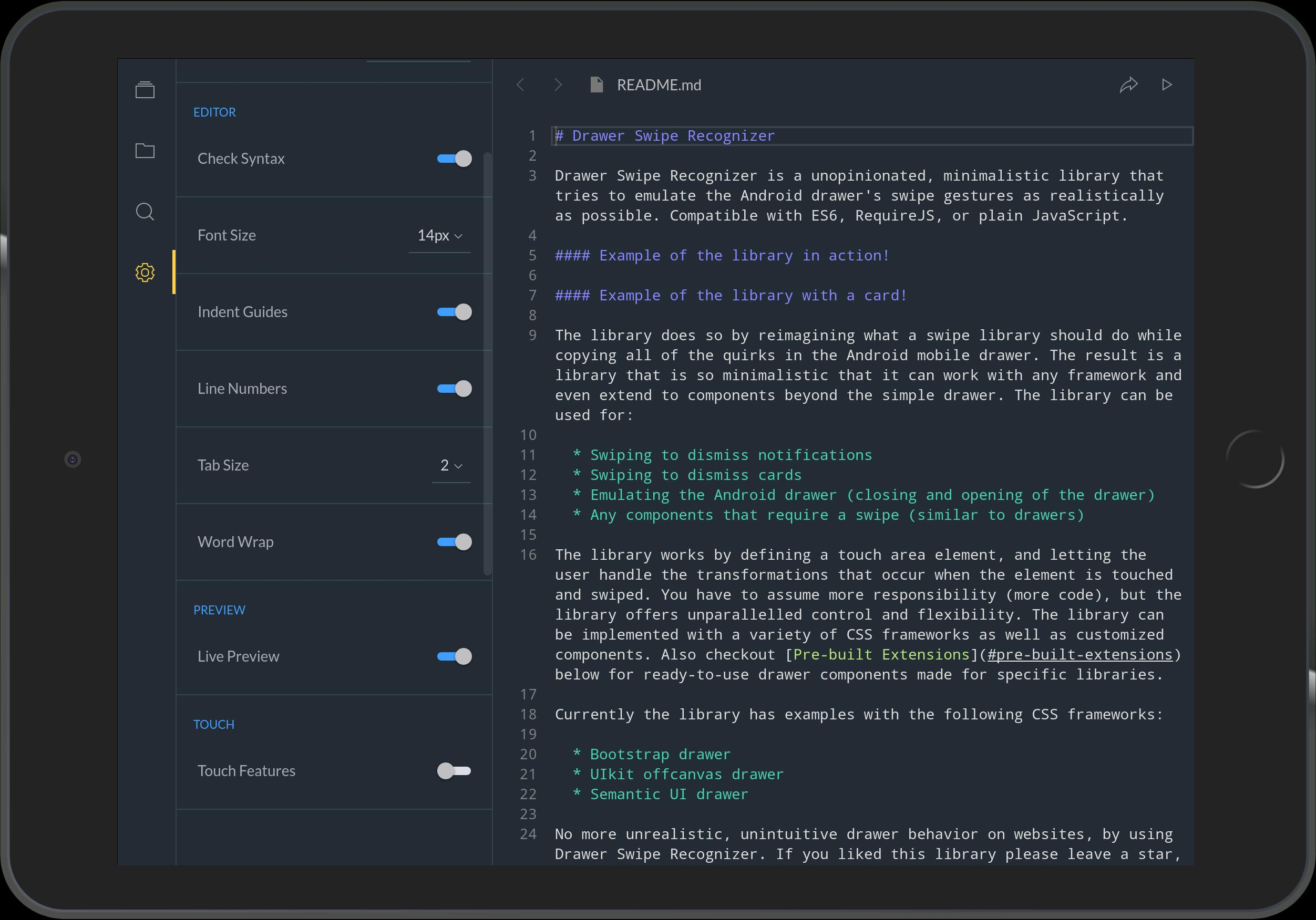 Spck JS Code Editor Sandbox & Git Client for Android - APK