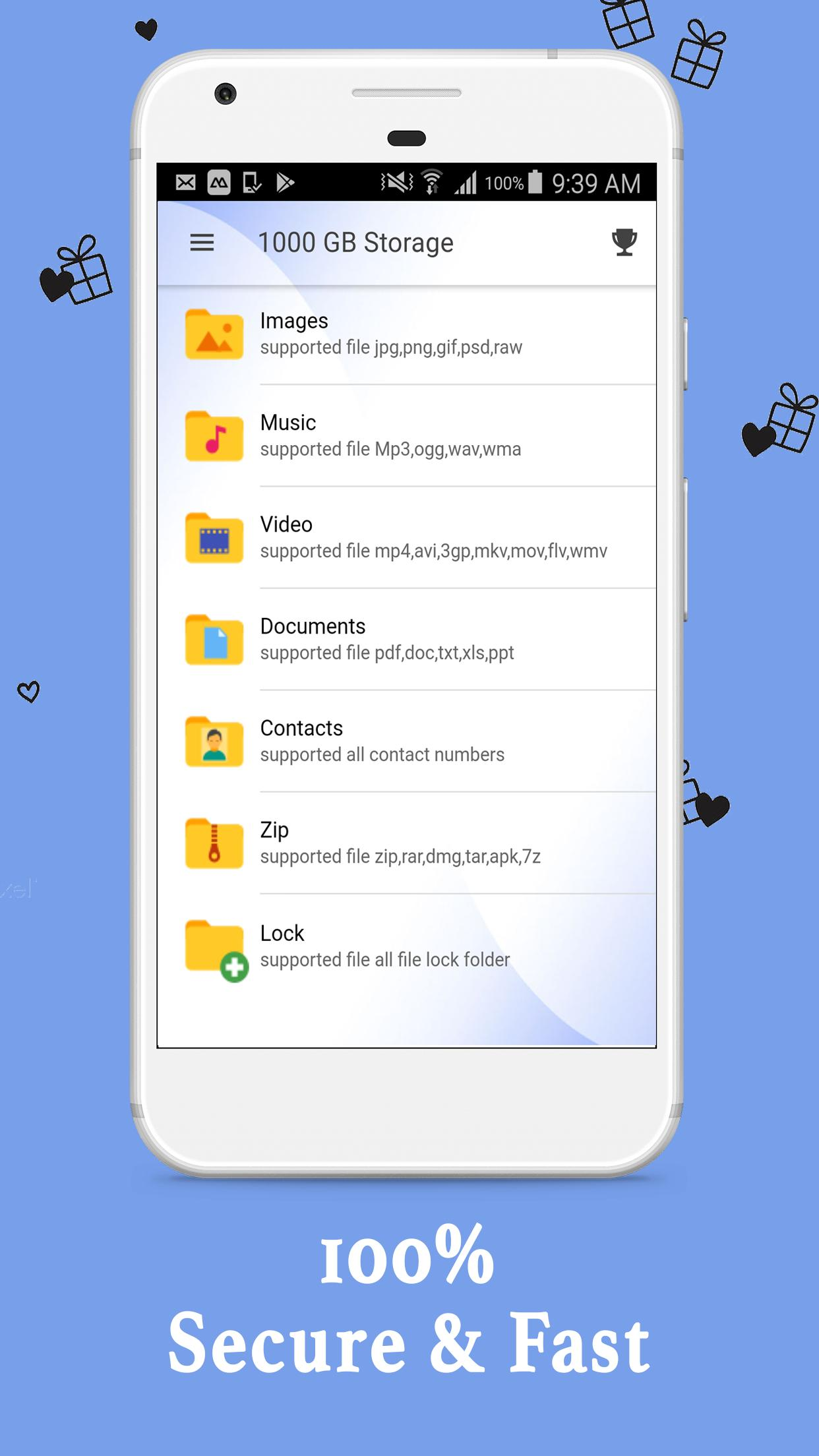 1000 Gb Cloud Card File Contact Organizer App For Android Apk Download