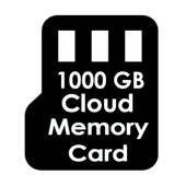 1000 GB Cloud Memory Card icon