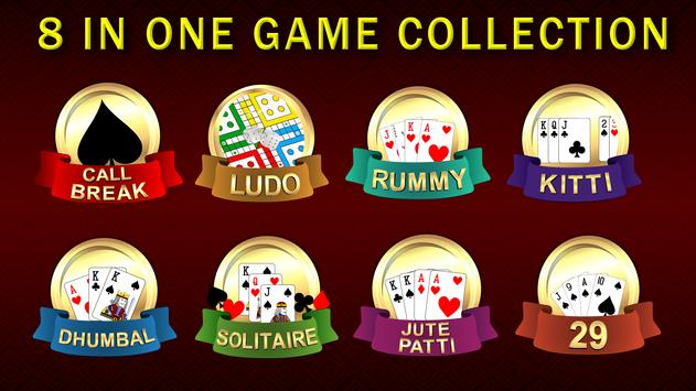 Callbreak, Ludo, Rummy, 29 & Solitaire Card Games poster