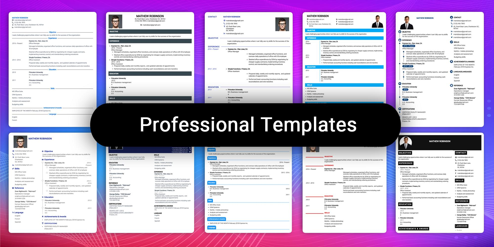 Resume Builder App Free Cv Maker Cv Templates 2020 For Android Apk Download
