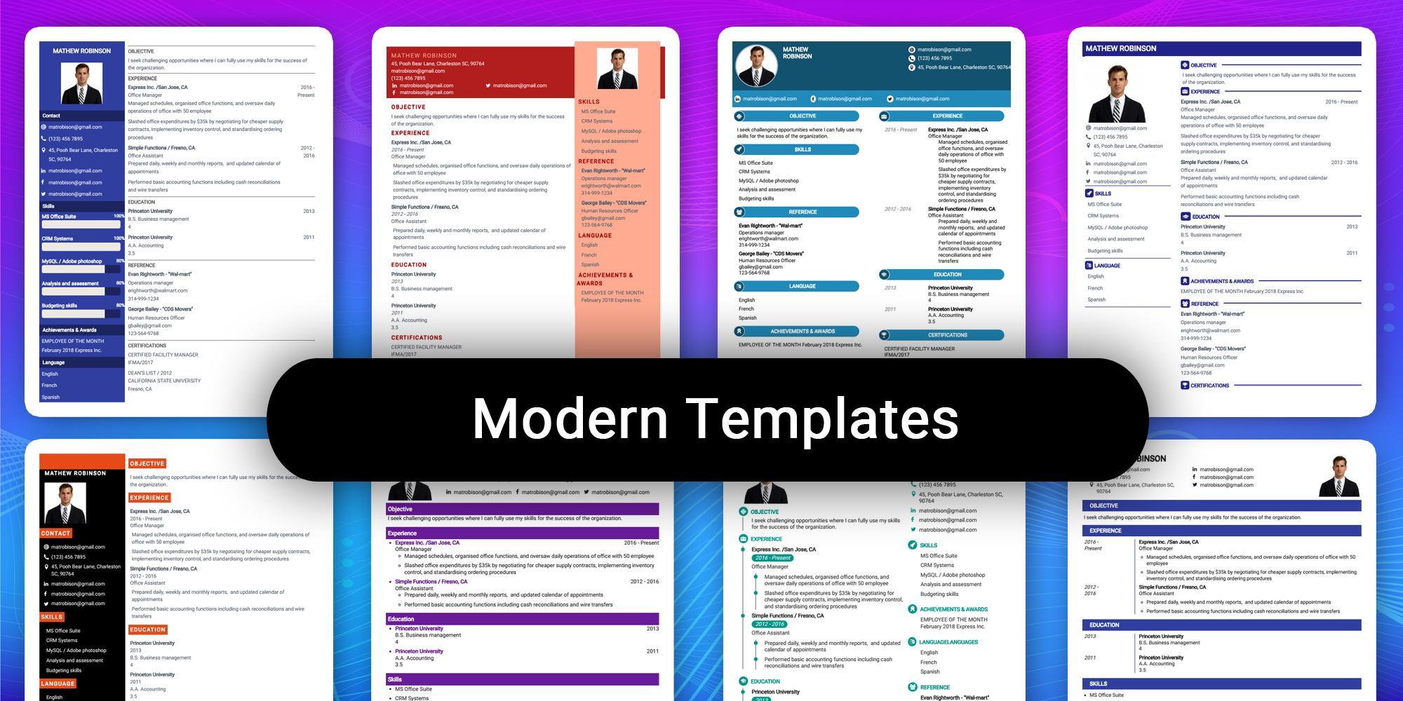 Resume Builder App Free Cv Maker Cv Templates 2020 For Android Apk Download