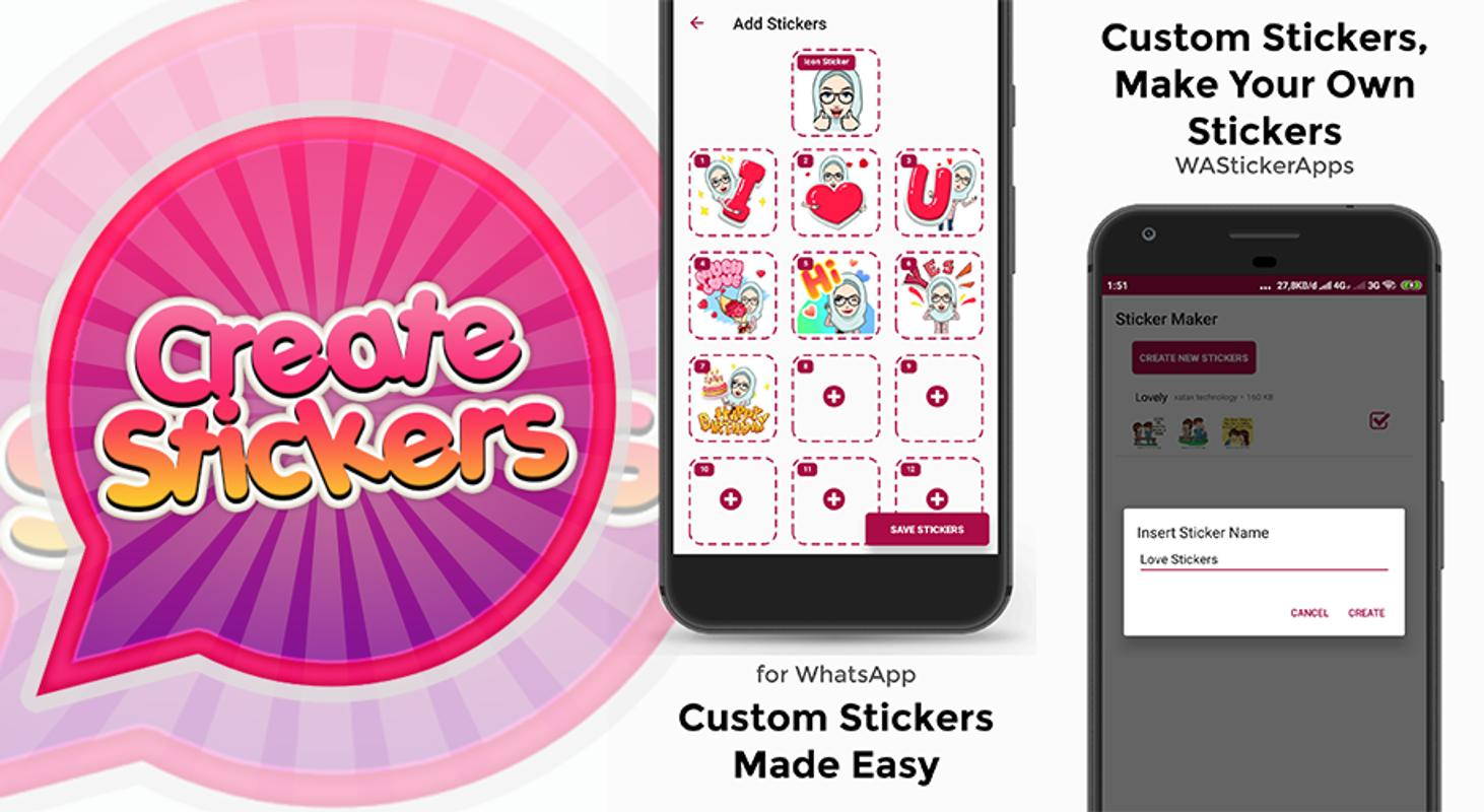 Create custom stickers for whatsapp poster create custom stickers for whatsapp screenshot 1