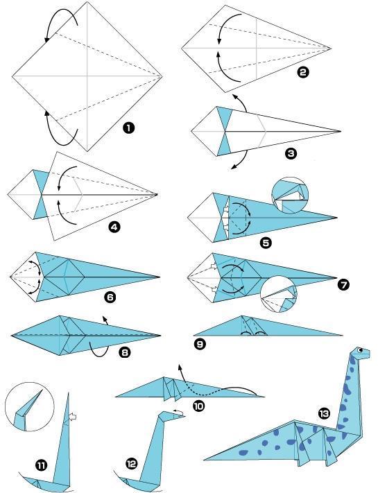 Cara membuat Origami Tyranosaurus (1)   Origami instructions ...   711x545
