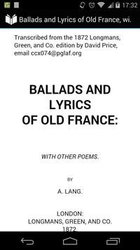 Ballads and Lyrics of Old France poster