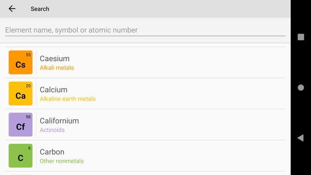Tabel Periodik 2020. Kimia di saku Anda syot layar 7
