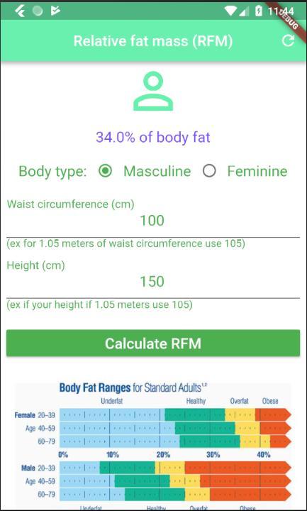 Relative Fat Mass Index (RFM) calculator DEXA like for