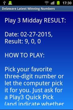 Delaware winning numbers screenshot 1