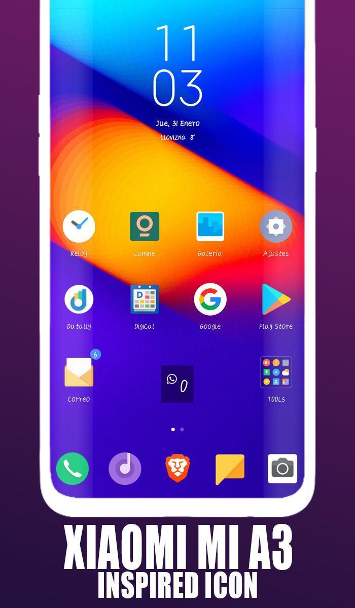 Xiaomi Mi A3 launcher, Xiaomi A3 theme for Android - APK