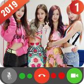 Fake Video Call Black Pink icon