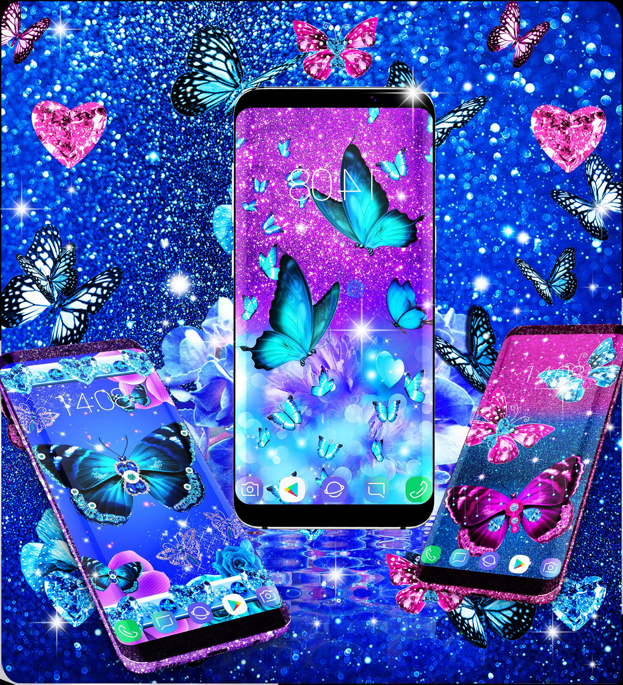 Blue Glitter Butterflies Live Wallpaper For Android APK
