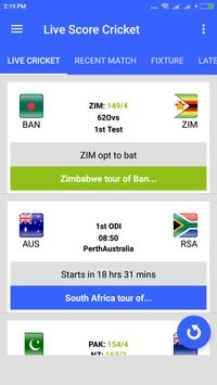 Live Cricket Score 2019 screenshot 1