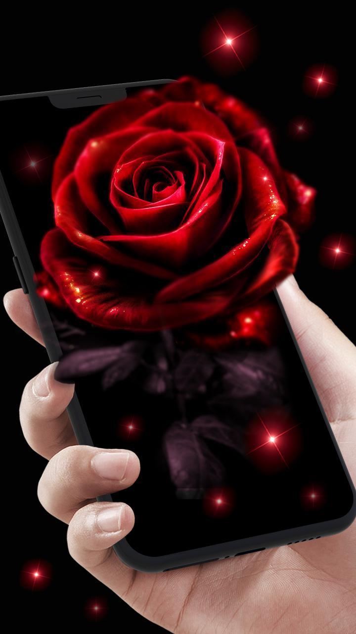Rosa Vermelha Néon Papel De Parede Ao Vivo Para Android