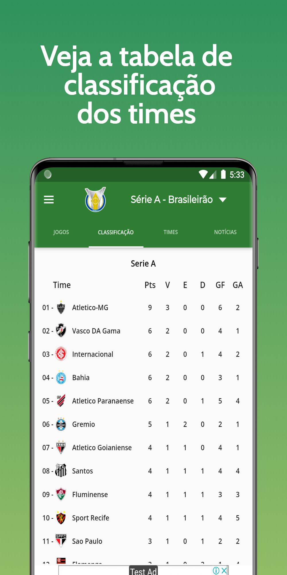Brasileirao Serie A Tabela E Resultados Ao Vivo For Android Apk Download