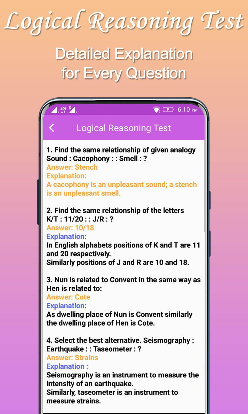Logical Reasoning Test : Practice, Tips & Tricks for Android