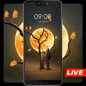 Man under the sun tree live wallpaper icon