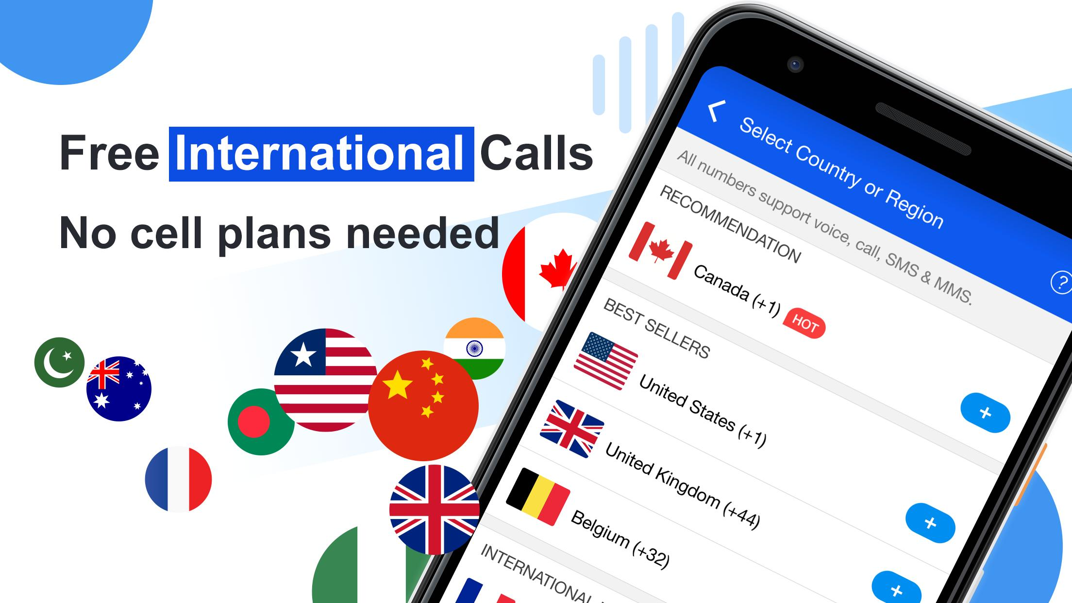 Free phone calls, free texting SMS on free number for